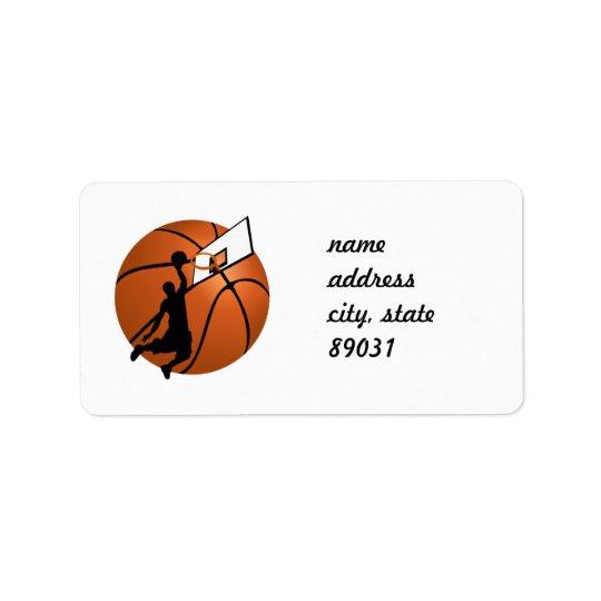 Slam Dunk Basketball Player w/Hoop on Ball Label