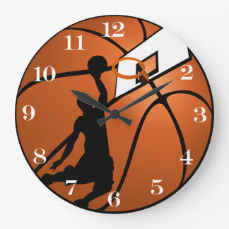 Slam Dunk Basketball Player w/Hoop on Ball Large Clock
