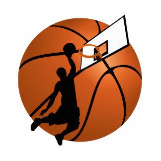Slam Dunk Basketball Player w/Hoop on Ball Standing Photo Sculpture