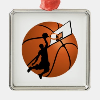 Slam Dunk Basketball Player w/Hoop on Ball Silver-Colored Square Decoration