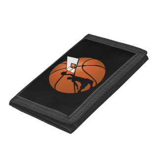 Slam Dunk Basketball Player w/Hoop on Ball Trifold Wallet