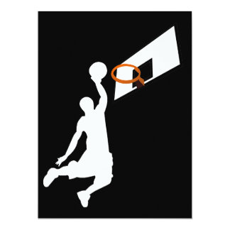 Slam Dunk Basketball Player - White Silhouette 17 Cm X 22 Cm Invitation Card