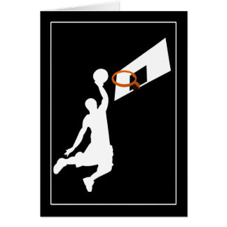 Slam Dunk Basketball Player - White Silhouette Greeting Cards