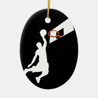 Slam Dunk Basketball Player - White Silhouette Ceramic Oval Decoration