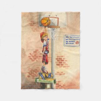 Slam Dunk on Basketball Hoop by Jay Throckmorton Fleece Blanket