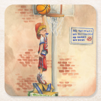 Slam Dunk on Basketball Hoop by Jay Throckmorton Square Paper Coaster