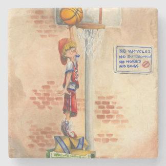 Slam Dunk on Basketball Hoop by Jay Throckmorton Stone Coaster