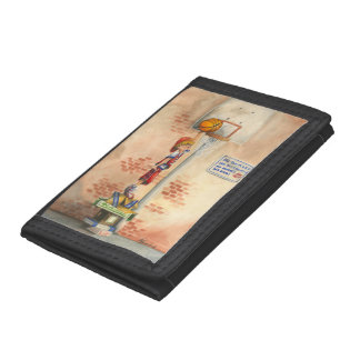 Slam Dunk on Basketball Hoop by Jay Throckmorton Trifold Wallets