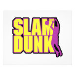 slam dunk text yellow and purple flyers