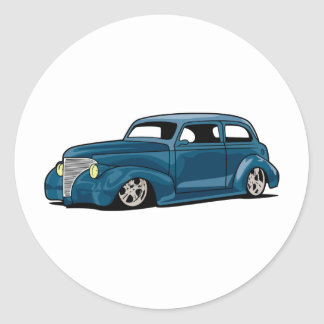Slammed Hot Rod Coupe Round Sticker