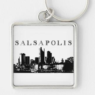 Slasapolis Silver-Colored Square Key Ring