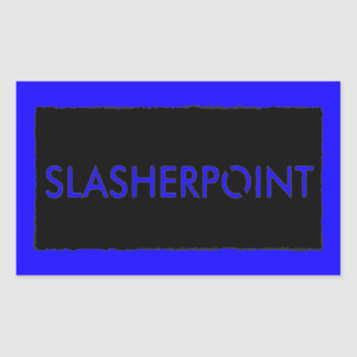 Slasherpoint™ Brand Blue Rectangle Stickers