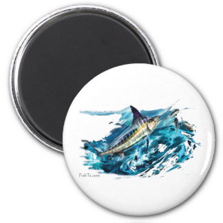 Slashing Marlin Jumping with Tuna 6 Cm Round Magnet
