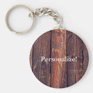 Slat Pattern Wood Planks Key Ring