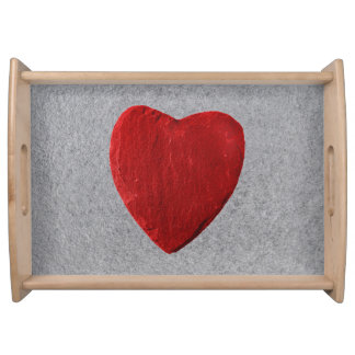 Slate background with heart serving tray