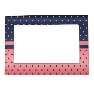 Slate Blue and Coral Polka Dots Magnetic Frame