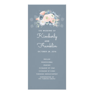 Slate Blue and Dusty Rose Floral Wedding Programs Rack Card