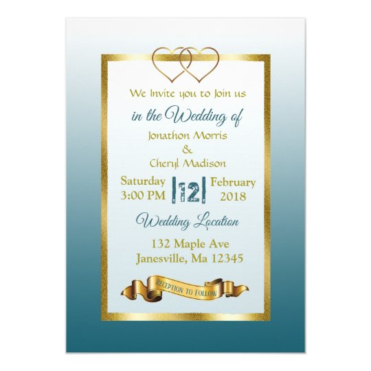 Slate Blue and Gold Hearts Wedding Invitations