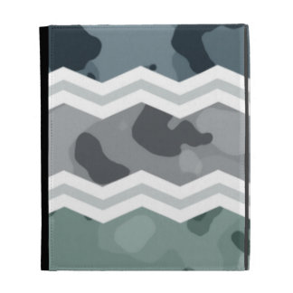 Slate Blue and Gray Camo Chevron Pattern iPad Folio Covers