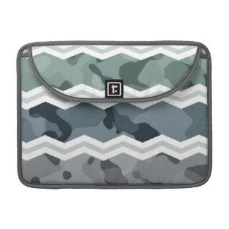 Slate Blue and Gray Camo Chevron Pattern MacBook Pro Sleeve