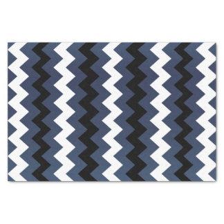 Slate Blue, Black and White Chevron Tissue Paper