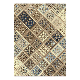 Slate Blue Brown Sari Mosaic Pattern Art Pack Of Chubby Business Cards
