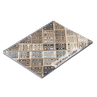 Slate Blue Brown Sari Mosaic Pattern Art Notebooks