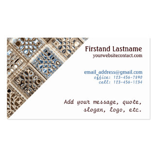 Slate Blue Brown Sari Mosaic Pattern Art Pack Of Standard Business Cards