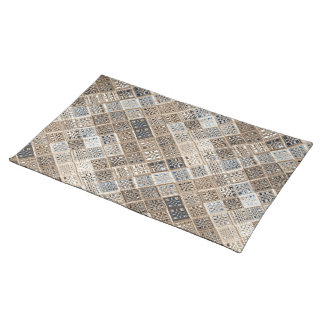 Slate Blue Brown Sari Mosaic Pattern Art Placemat