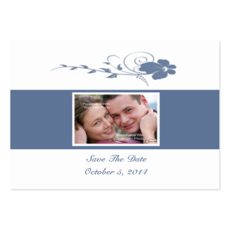 Slate Blue Flowing Flower Photo Save The Date Card Business Card Template