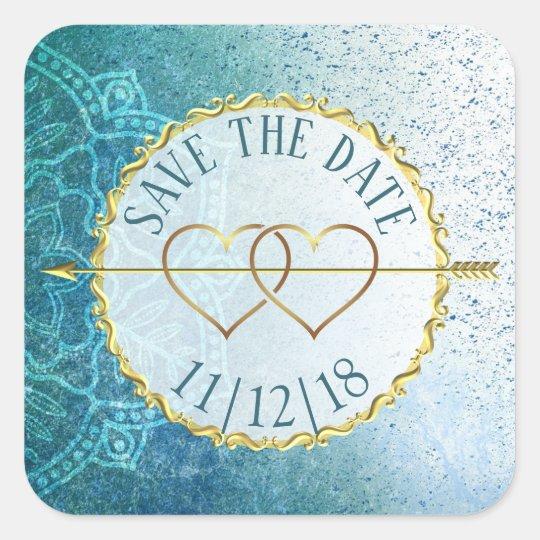 Slate Blue & Gold Mandala  Save the Date Stickers