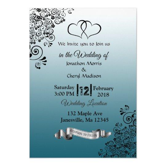 Slate Blue Simple Hearts Wedding Invitations