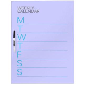 Slate Blue Weekly Calendar Dry Erase Board