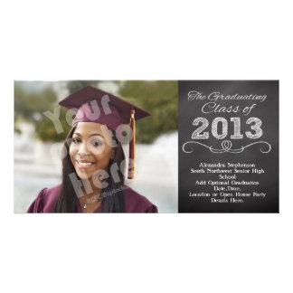 Slate Chalkboard Style Graduation Custom Photo Card