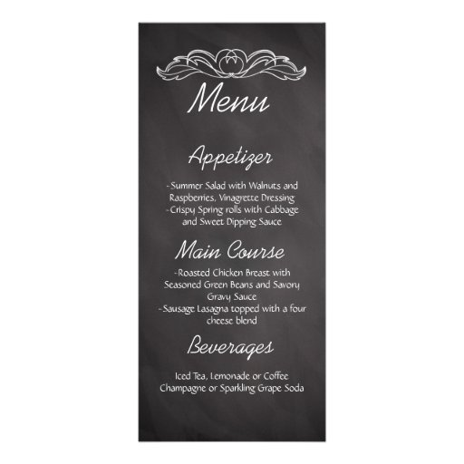 Slate Chalkboard Wedding Menu Rack Card Design