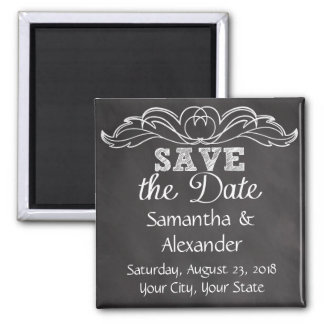 Slate Chalkboard Wedding Save the Date Square Magnet