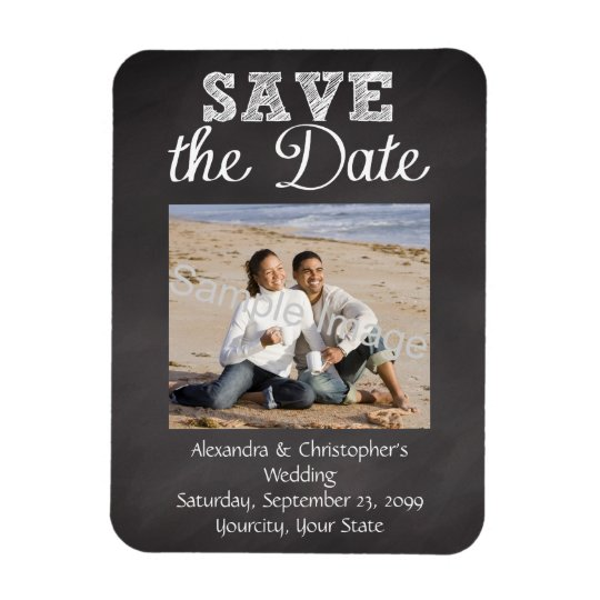 Slate Chalkboard Wedding Save the Date Rectangular Photo Magnet