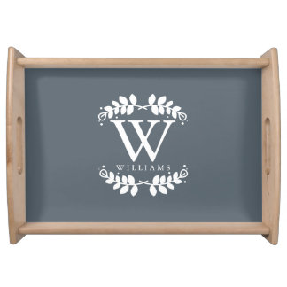 Slate Gray Elegant Monogram Serving Tray