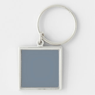 Slate Gray Solid Color Silver-Colored Square Key Ring