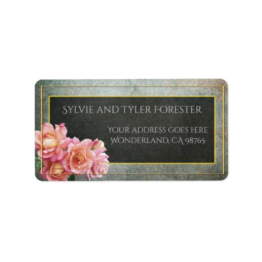 Slate Grey and Pale Pink Roses with Gold Frame Address Label