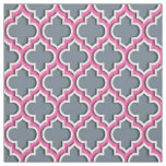 Slate Grey, Hot Pink Moroccan Quatrefoil #5DS Fabric
