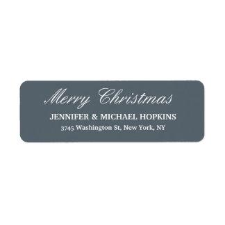 Slate Grey Merry Christmas Message Family Sheet Return Address Label