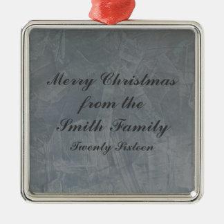 Slate Grey Venetian Plaster Christmas Silver-Colored Square Decoration
