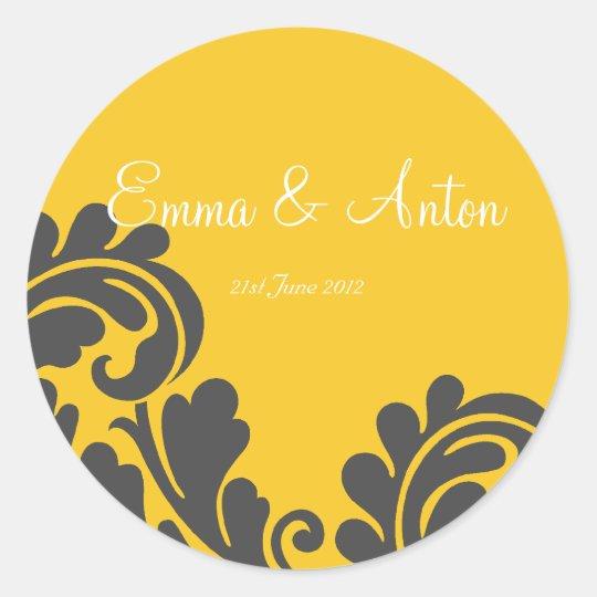 slate grey & yellow damask Favour/Envelope sticker