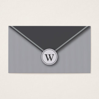 Slate Monogram Elegant Envelope Business Cards