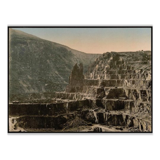 Slate quarries, Bethesda, Wales rare Photochrom Postcard