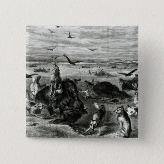 Slaughter of Buffaloes on the Plains 15 Cm Square Badge
