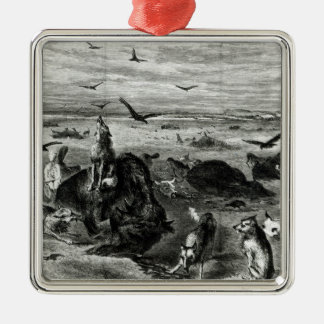 Slaughter of Buffaloes on the Plains Silver-Colored Square Decoration