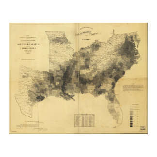 Slavery Population Map Southern States Civil War Stretched Canvas Print