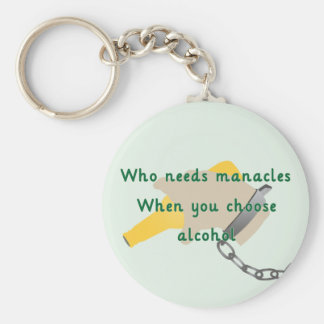 Slavery to Alcohol Basic Round Button Key Ring